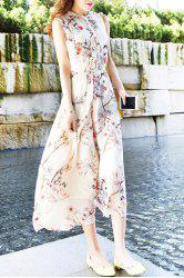Sweet Round Neck Sleeveless Chiffon Floral Dress For Women