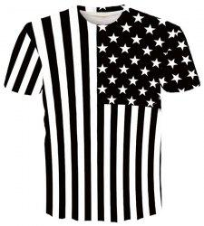 Round Neck 3D Stripe and Star Printed Short Sleeve T-Shirt For Men -
