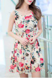 Trendy Scoop Neck Sleeveless Floral Print Slimming Women's Dress - APRICOT