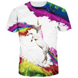 Splash-Ink Rainbow and Horse Print Round Neck Short Sleeves 3D T-Shirt For Men