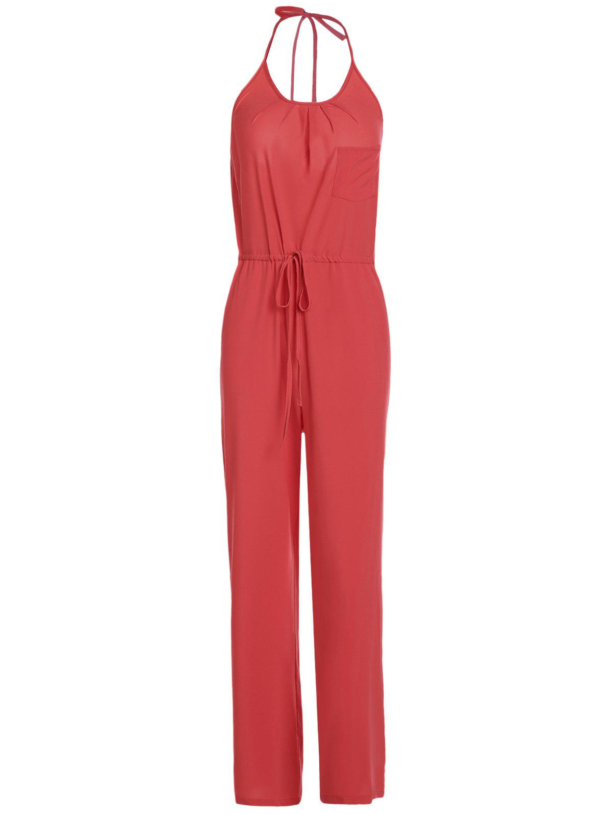 Shops Chic Solid Color Spaghetti Strap Wide Leg Loose Jumpsuit For Women