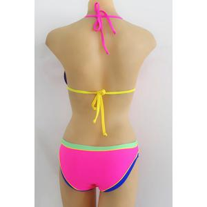 Sexy Halter Hit Color   Bikini Set For Women - ROSE L