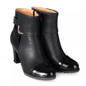 Elegant Patent Leather and Metallic Design Women's Ankle Boots - Black - 39