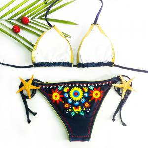 Sexy Halter Embroidered Floral Bikini Set For Women - CADETBLUE S