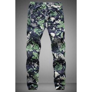 Drawstring Leaves Printed Narrow Feet Men's Jogger Pants - COLORMIX 5XL
