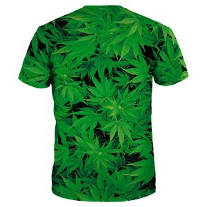 Slim Fit Round Collar Weed T-Shirt For Men -