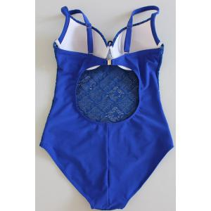 Chic Sapphire Blue Backless Cut Out One-Piece Underwire Swimwear For Women - SAPPHIRE BLUE XL
