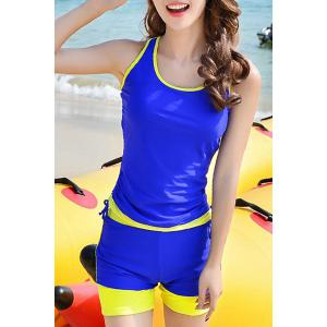 Active Sleeveless Hit Color Sheath Tank Top and Shorts Twinset Swimwear For Women