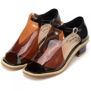 Leisure Hollow Out and Chunky Heel Design Peep Toe Shoes For Women -