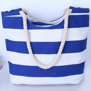 Casual Color Block and Striped Design Shoulder Bag For Women - BLUE