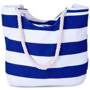 Casual Color Block and Striped Design Shoulder Bag For Women - Blue - 39