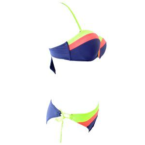 Women's Stylish String Hit Color Halter Bikini Swimwear -