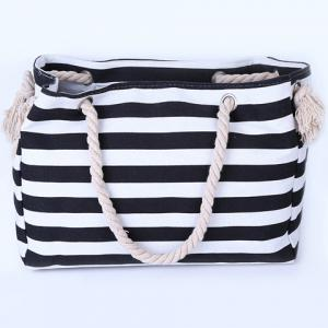 Casual Striped Canvas Beach Bag -