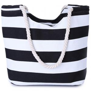 Casual Color Block and Striped Design Shoulder Bag For Women - Black
