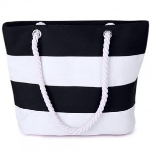 Hemp Rope Strap Stripe Tote - White And Black - 38