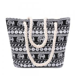Ethnic Style Elephant Print and Black Design Shoulder Bag For Women - Black