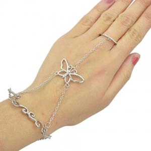 Rhinestoned Butterfly Bracelet With Ring - Silver - One-size