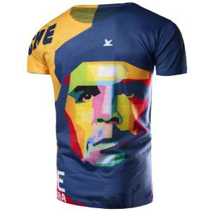 Round Neck 3D Mix-Color Abstract Face Pattern Short Sleeve Men's T-Shirt - COLORMIX L