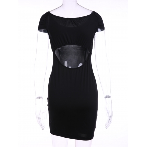 Sexy Off-The-Shoulder Short Sleeve Cut Out Bodycon Women's Dress -