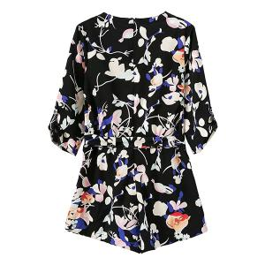 Stylish Cross-Over Floral Print Pocket Design Women's Belted Playsuit -