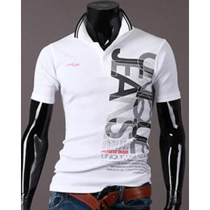 New Style Turn-down Collar Letters Print Short Sleeves Polo T-Shirt For Men - White - M