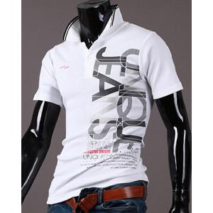 New Style Turn-down Collar Letters Print Short Sleeves Polo T-Shirt For Men - WHITE 2XL