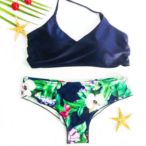 Sexy Halter Floral Print Criss-Cross Women's Bikini Set от Rosegal.com INT