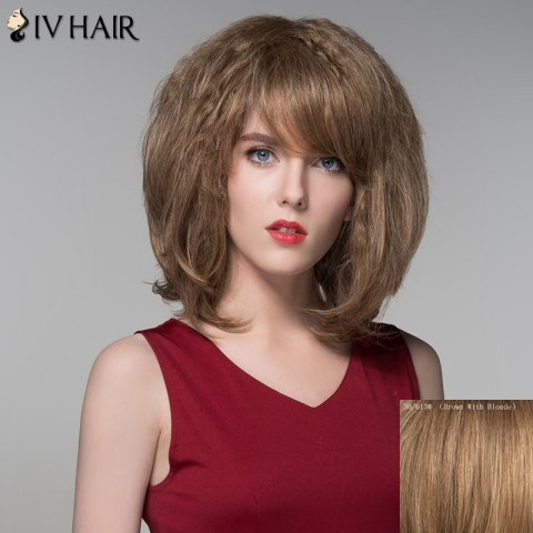 Cheap Bouffant Wavy Capless Stylish Short Side Bang Human Hair Wig