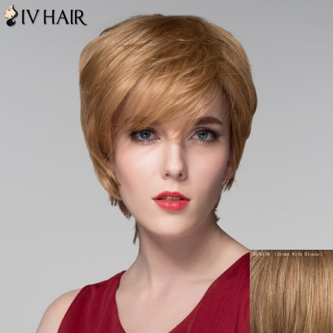 Sale Spiffy Short Layered Capless Shaggy Natural Wavy Side Bang Human Hair Wig For Women