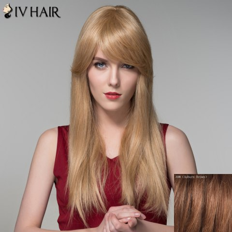 Affordable Charming Long Side Bang Stylish Straight Capless Human Hair Wig For Women AUBURN BROWN #30