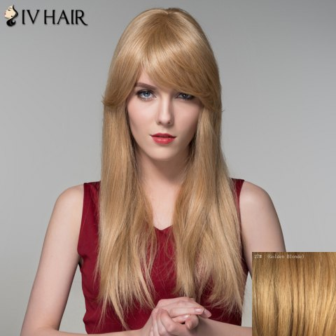New Charming Long Side Bang Stylish Straight Capless Human Hair Wig For Women - GOLDEN BLONDE  Mobile