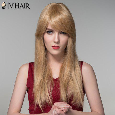 Chic Charming Long Side Bang Stylish Straight Capless Human Hair Wig For Women - BLONDE  Mobile