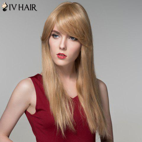Latest Charming Long Side Bang Stylish Straight Capless Human Hair Wig For Women - BLONDE  Mobile