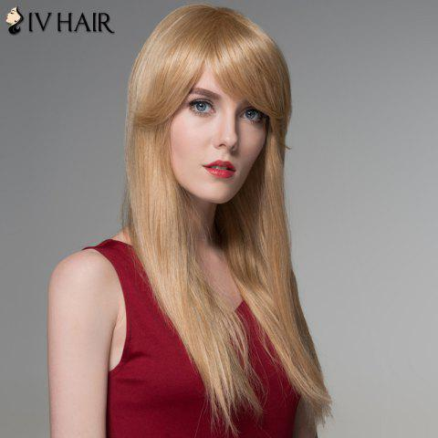 Outfits Charming Long Side Bang Stylish Straight Capless Human Hair Wig For Women - BLONDE  Mobile