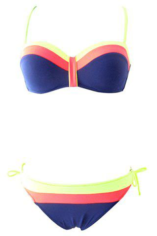 Hot Women's Stylish String Hit Color Halter Bikini Swimwear