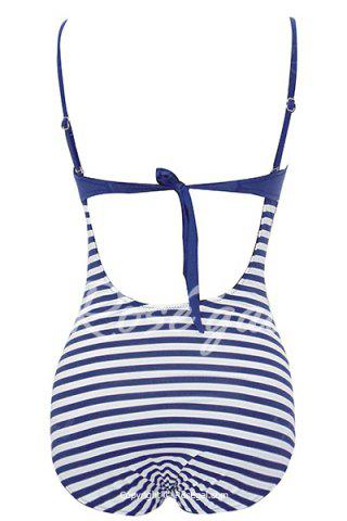 Women's Stylish Hit Color Spaghetti Strap One Striped Piece Swimwear от Rosegal.com INT