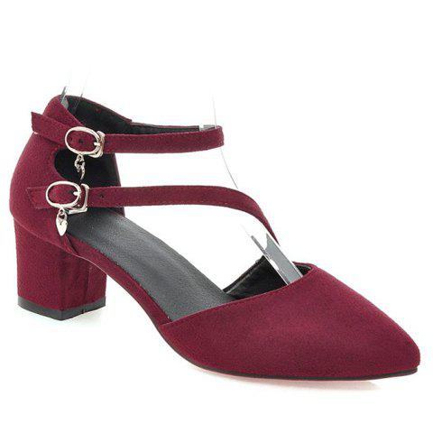 Outfits Casual Buckle Strap and Suede Design Pumps For Women