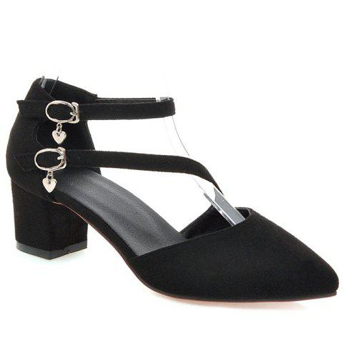 Casual Buckle Strap and Suede Design Pumps For Women - BLACK 34