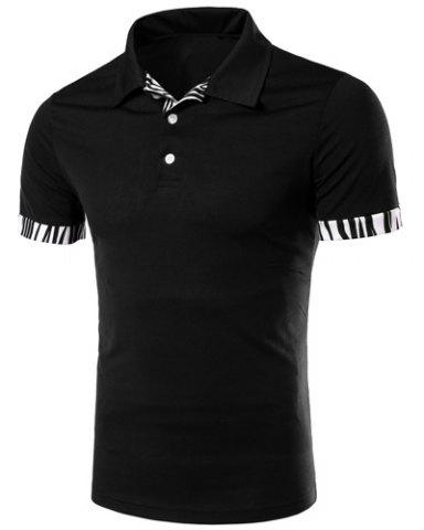 Chic Zebra-Stripe Spliced Turn-down Collar Short Sleeves Polo T-Shirt For Men BLACK M