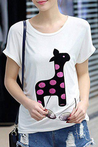 Discount Cute Scoop Neck Short Sleeve Character Printed T-Shirt For Women