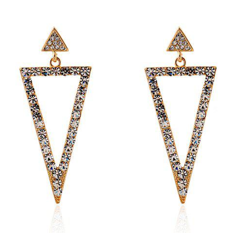 Fashion Pair of Triangle Rhinestoned Drop Earrings