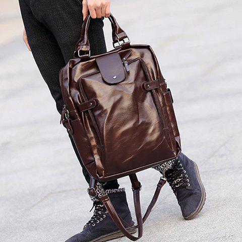 Trendy Stylish Zippers and Solid Colour Design Backpack For Men -   Mobile