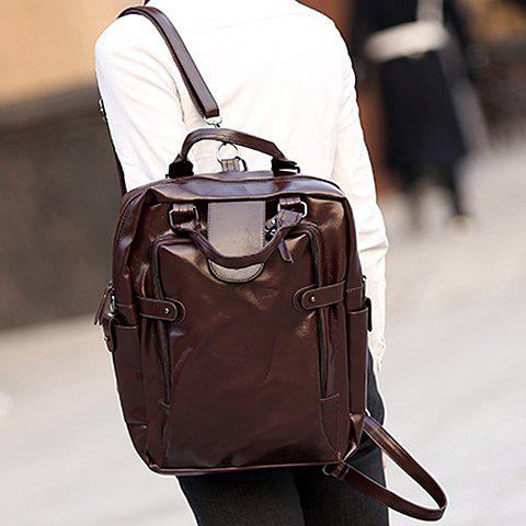 New Stylish Zippers and Solid Colour Design Backpack For Men -   Mobile