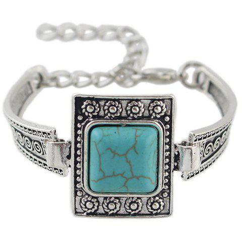 Vintage Faux Turquoise Geometric Bracelet For Women - Blue
