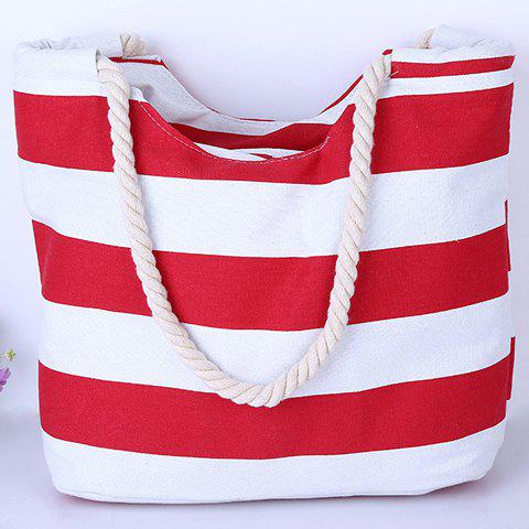 Discount Casual Color Block and Striped Design Shoulder Bag For Women - RED  Mobile