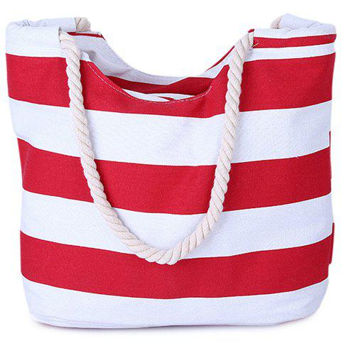 Online Casual Color Block and Striped Design Shoulder Bag For Women RED