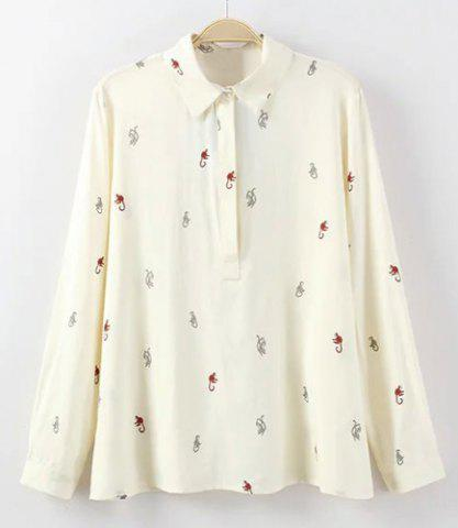 Long Sleeves Flat Collar Cartoon Print Blouse