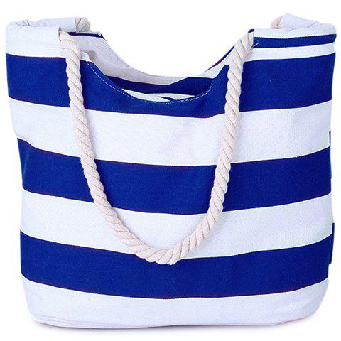 Buy Casual Color Block Striped Design Shoulder Bag Women - Blue