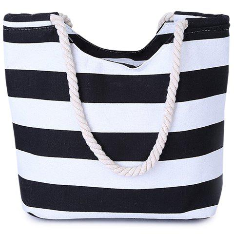 Hot Casual Color Block and Striped Design Shoulder Bag For Women BLACK
