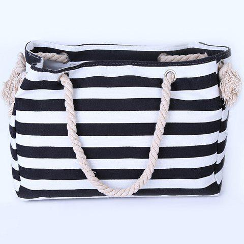 Affordable Casual Striped Canvas Beach Bag - BLACK  Mobile